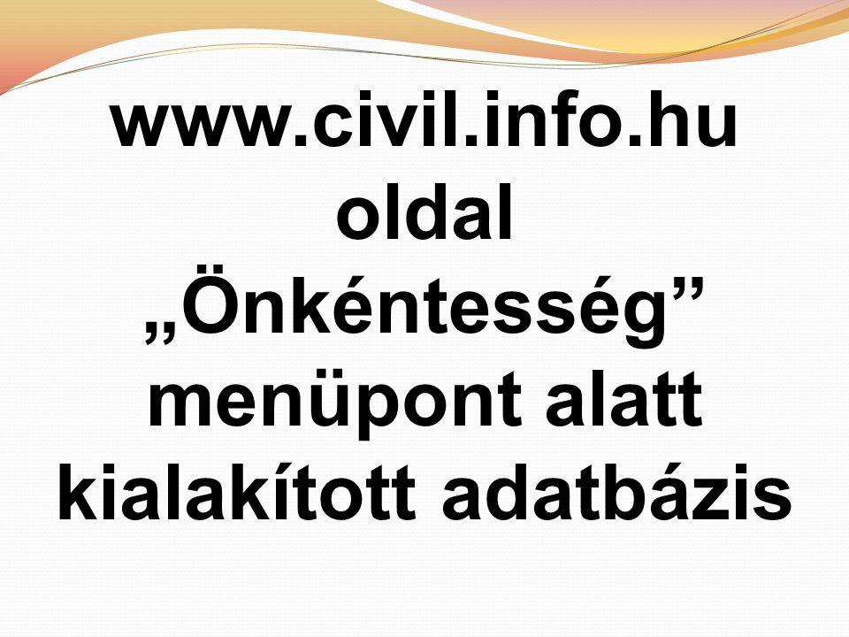 """www.civil.info.hu oldal """"Önkéntesség menüpont alatt kialakított adatbázis"""
