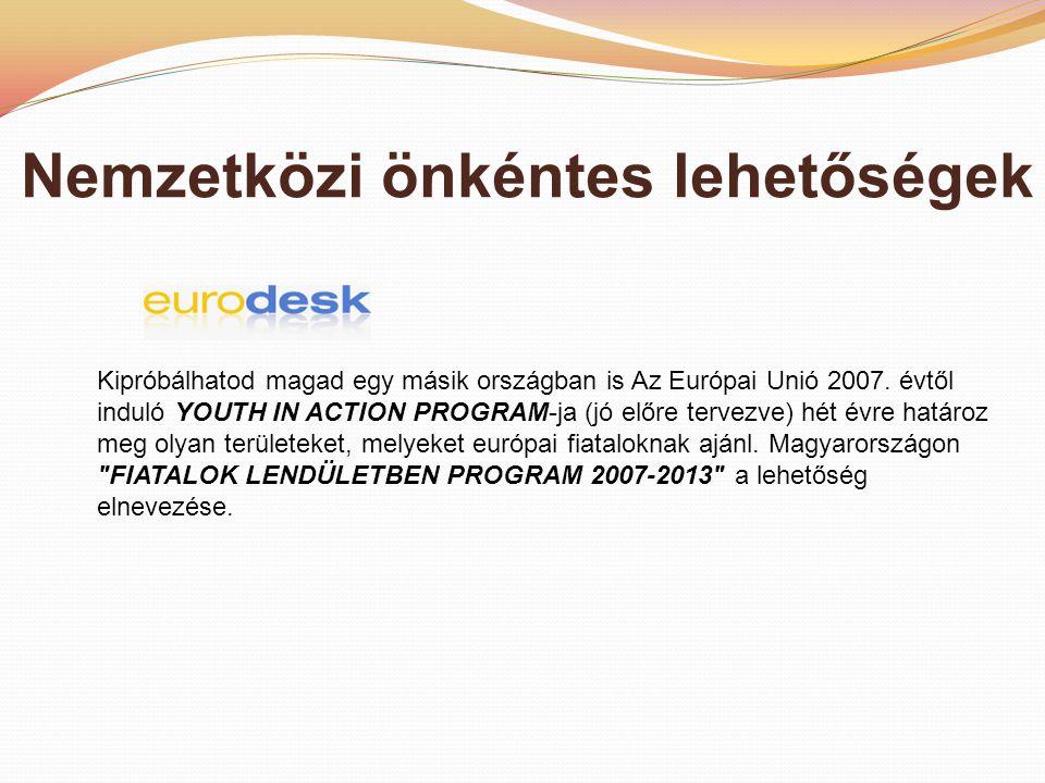 Nemzetközi önkéntes lehetőségek Kipróbálhatod magad egy másik országban is Az Európai Unió 2007.