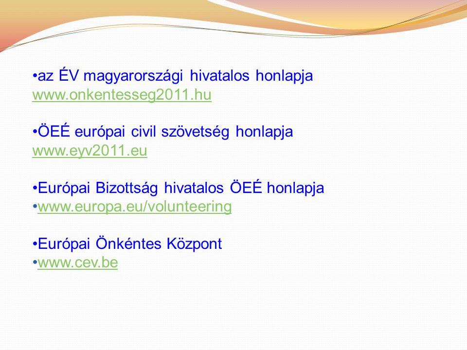 az ÉV magyarországi hivatalos honlapja www.onkentesseg2011.hu ÖEÉ európai civil szövetség honlapja www.eyv2011.eu Európai Bizottság hivatalos ÖEÉ honlapja www.europa.eu/volunteering Európai Önkéntes Központ www.cev.be