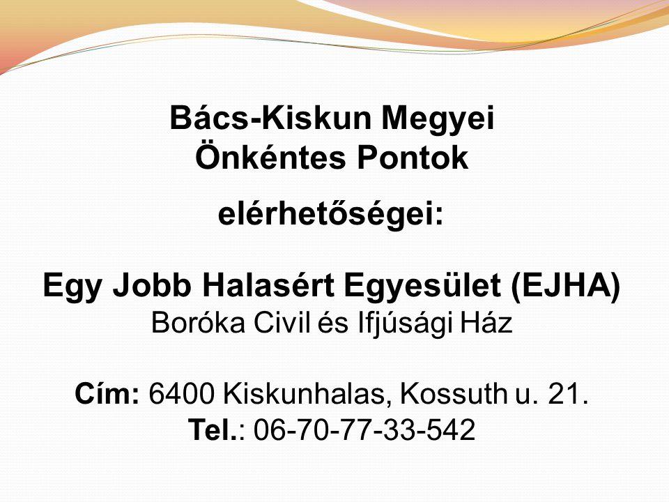 Bács-Kiskun Megyei Önkéntes Pontok elérhetőségei: Egy Jobb Halasért Egyesület (EJHA) Boróka Civil és Ifjúsági Ház Cím: 6400 Kiskunhalas, Kossuth u.
