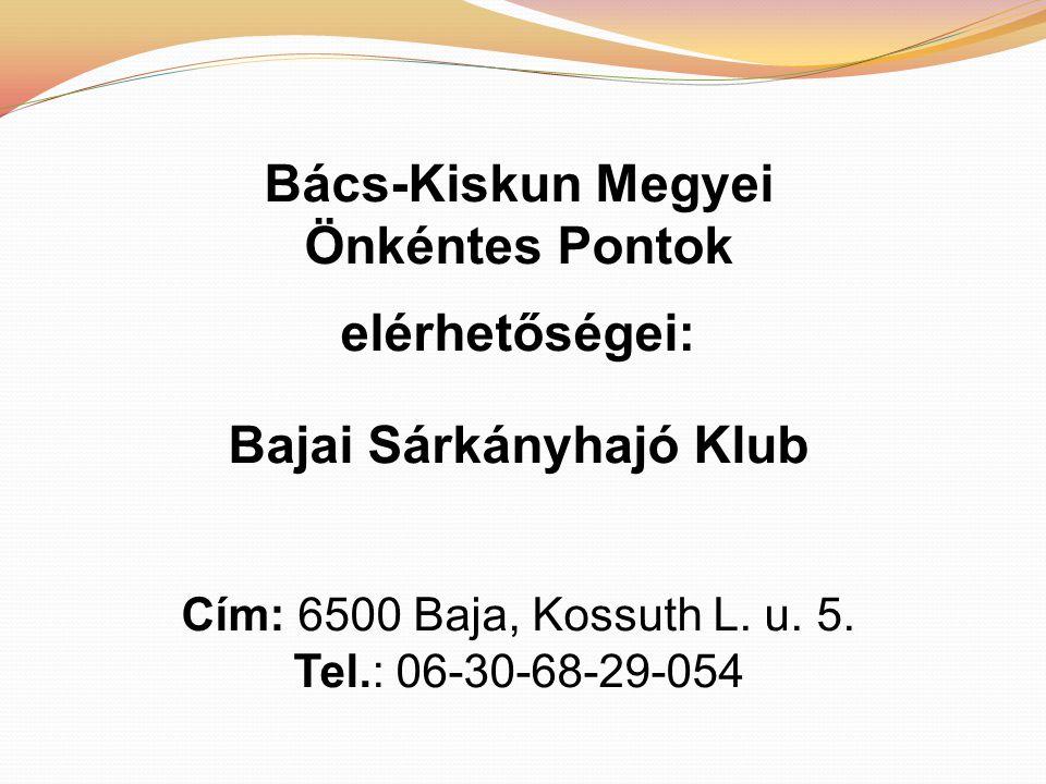 Bács-Kiskun Megyei Önkéntes Pontok elérhetőségei: Bajai Sárkányhajó Klub Cím: 6500 Baja, Kossuth L.