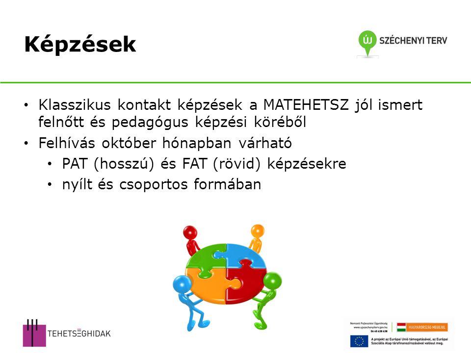 Klasszikus kontakt képzések a MATEHETSZ jól ismert felnőtt és pedagógus képzési köréből Felhívás október hónapban várható PAT (hosszú) és FAT (rövid)