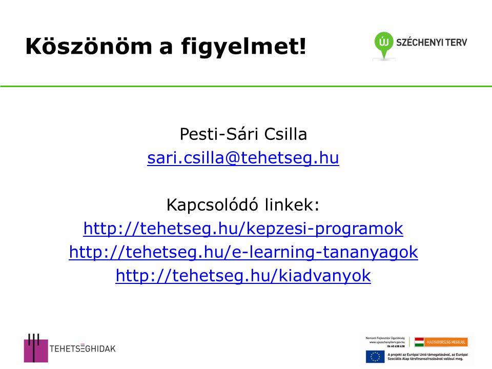 Pesti-Sári Csilla sari.csilla@tehetseg.hu Kapcsolódó linkek: http://tehetseg.hu/kepzesi-programok http://tehetseg.hu/e-learning-tananyagok http://tehe