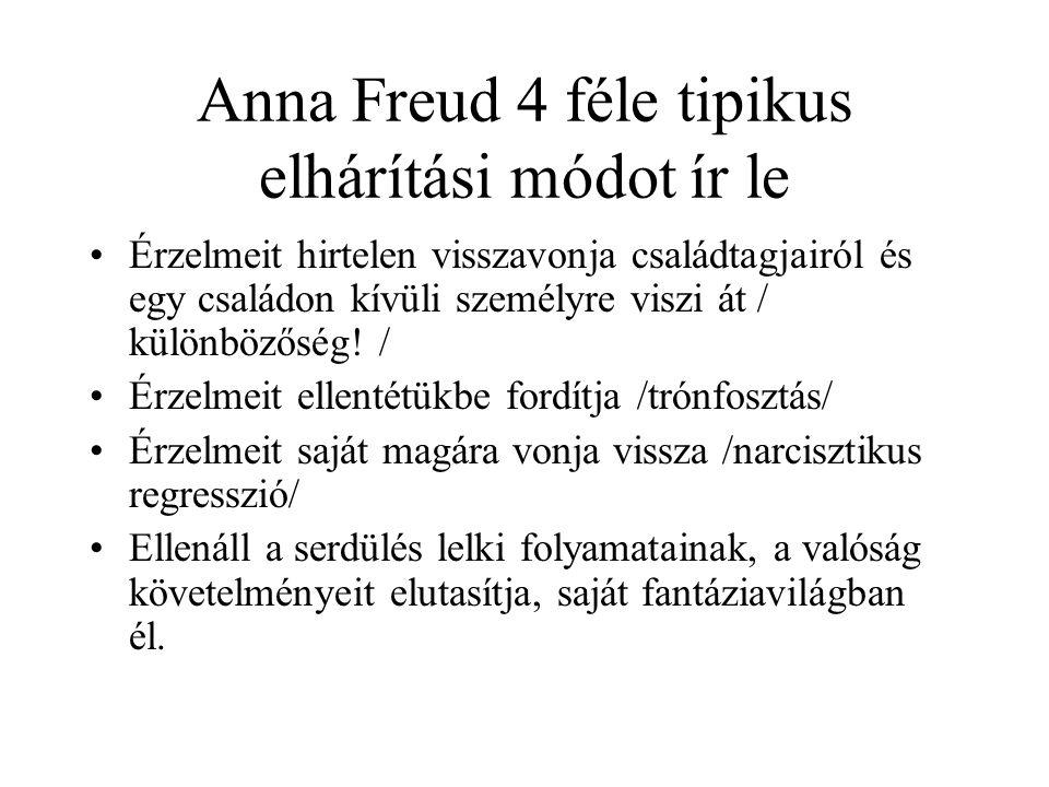 Anna Freud 4 féle tipikus elhárítási módot ír le Érzelmeit hirtelen visszavonja családtagjairól és egy családon kívüli személyre viszi át / különbözőség.