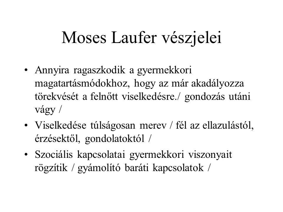 Moses Laufer vészjelei Annyira ragaszkodik a gyermekkori magatartásmódokhoz, hogy az már akadályozza törekvését a felnőtt viselkedésre./ gondozás utáni vágy / Viselkedése túlságosan merev / fél az ellazulástól, érzésektől, gondolatoktól / Szociális kapcsolatai gyermekkori viszonyait rögzítik / gyámolító baráti kapcsolatok /