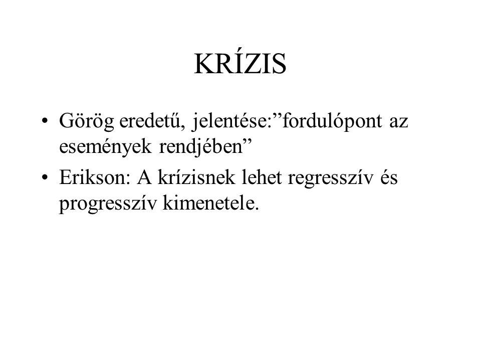 KRÍZIS Görög eredetű, jelentése: fordulópont az események rendjében Erikson: A krízisnek lehet regresszív és progresszív kimenetele.