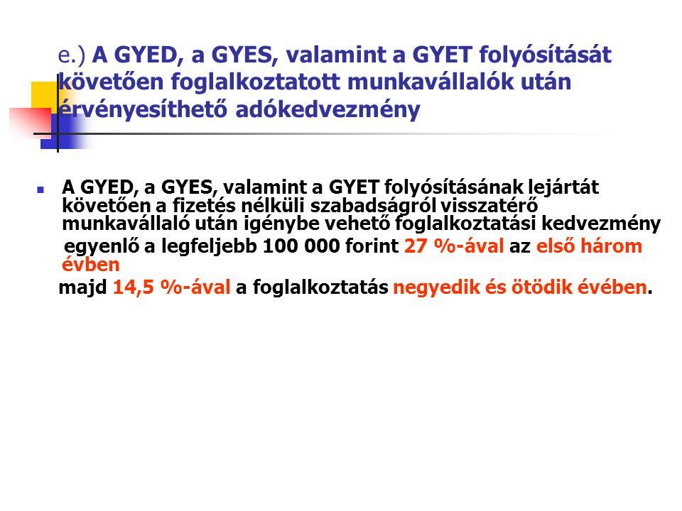 e.) A GYED, a GYES, valamint a GYET folyósítását követően foglalkoztatott munkavállalók után érvényesíthető adókedvezmény A GYED, a GYES, valamint a GYET folyósításának lejártát követően a fizetés nélküli szabadságról visszatérő munkavállaló után igénybe vehető foglalkoztatási kedvezmény egyenlő a legfeljebb 100 000 forint 27 %-ával az első három évben majd 14,5 %-ával a foglalkoztatás negyedik és ötödik évében.