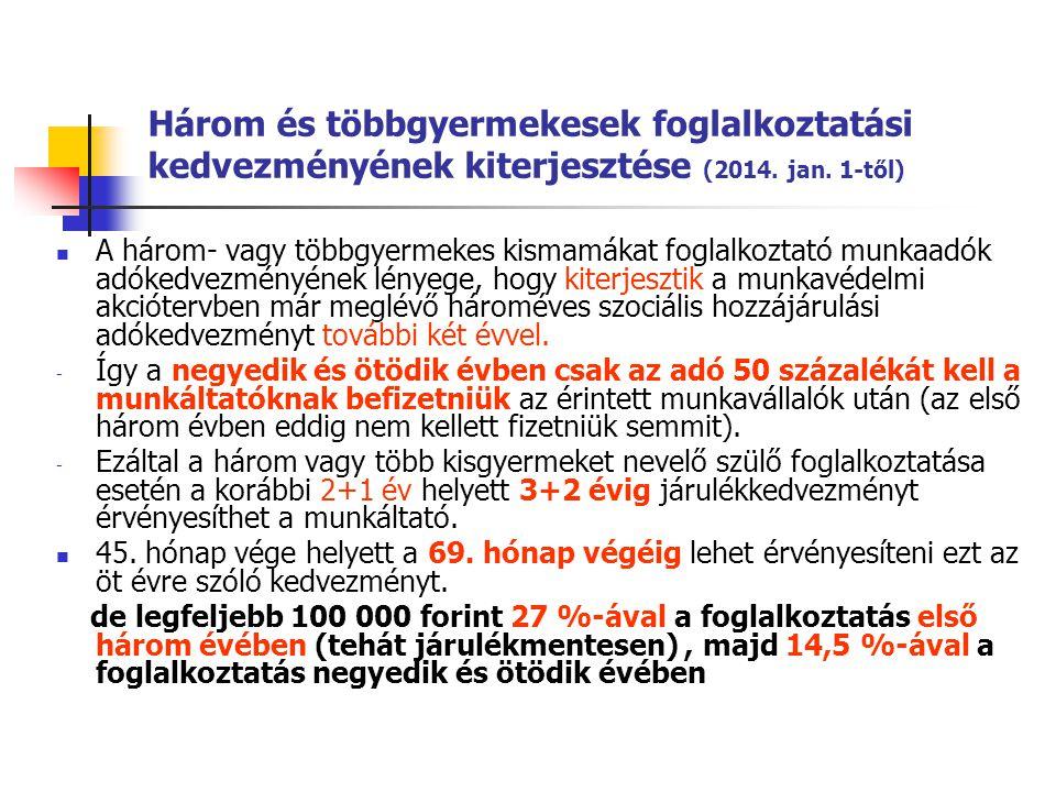 Három és többgyermekesek foglalkoztatási kedvezményének kiterjesztése (2014. jan. 1-től) A három- vagy többgyermekes kismamákat foglalkoztató munkaadó
