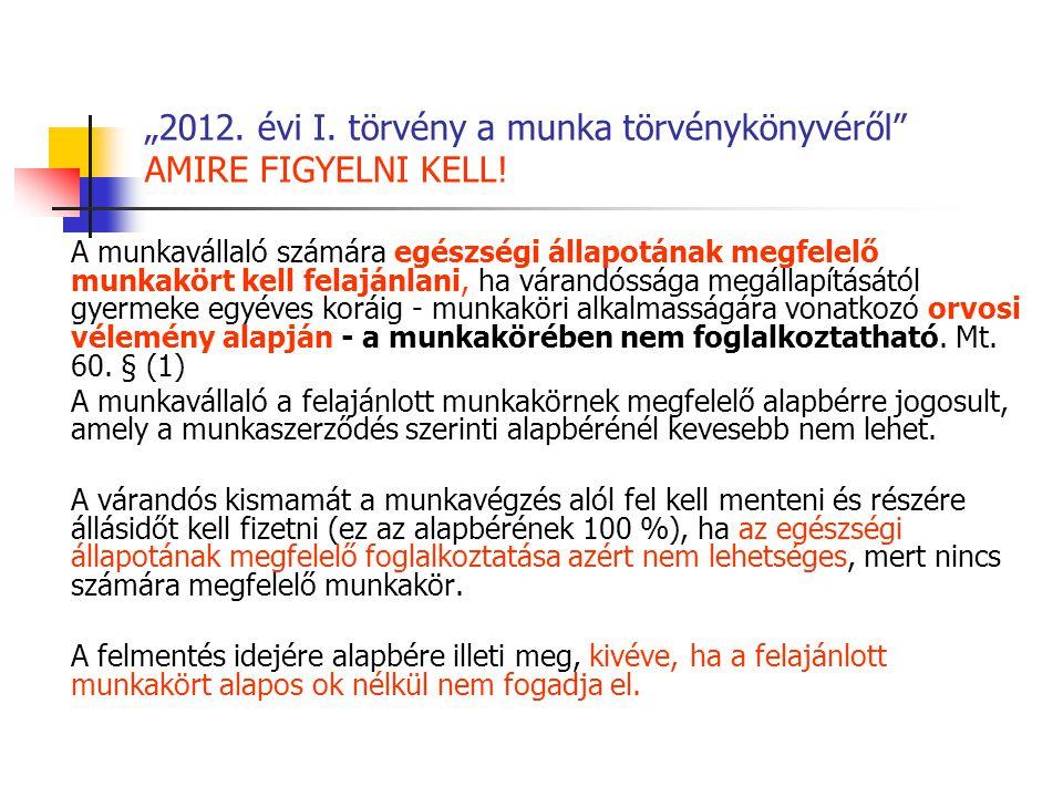 """""""2012. évi I. törvény a munka törvénykönyvéről"""" AMIRE FIGYELNI KELL! A munkavállaló számára egészségi állapotának megfelelő munkakört kell felajánlani"""