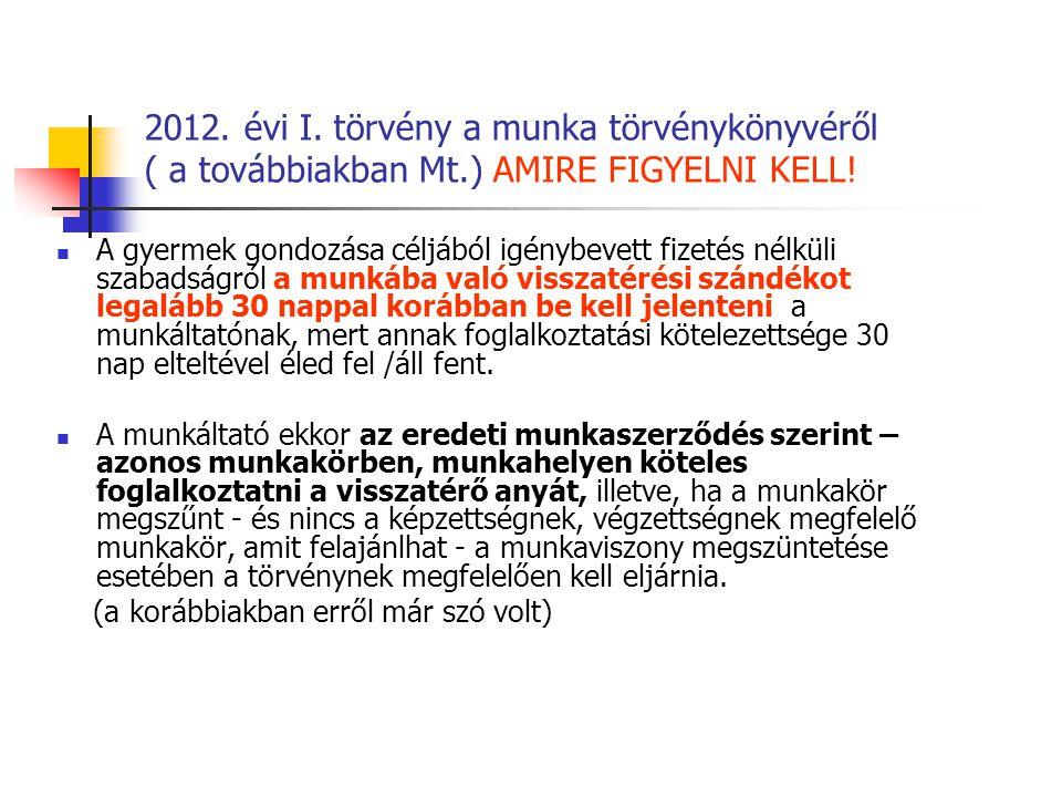 2012.évi I. törvény a munka törvénykönyvéről ( a továbbiakban Mt.) AMIRE FIGYELNI KELL.