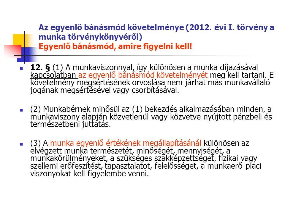 Az egyenlő bánásmód követelménye (2012. évi I. törvény a munka törvénykönyvéről) Egyenlő bánásmód, amire figyelni kell! 12. § (1) A munkaviszonnyal, í