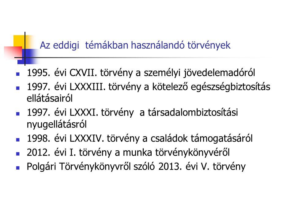 Az eddigi témákban használandó törvények 1995. évi CXVII. törvény a személyi jövedelemadóról 1997. évi LXXXIII. törvény a kötelező egészségbiztosítás