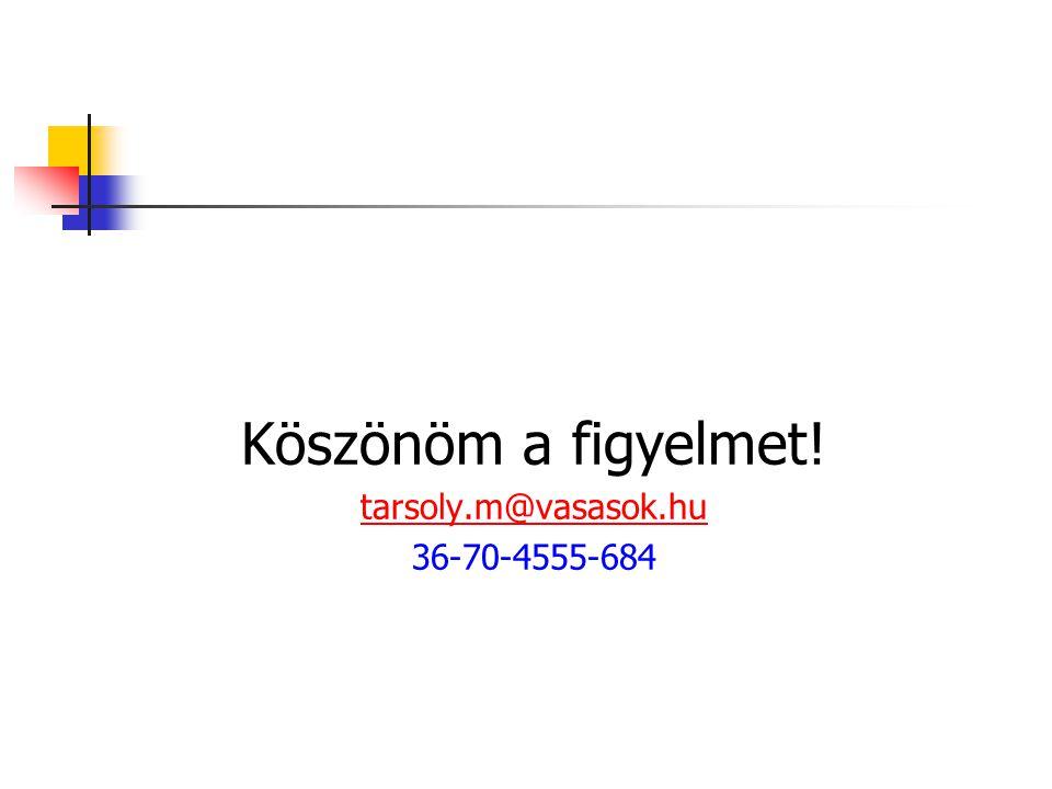 Köszönöm a figyelmet! tarsoly.m@vasasok.hu 36-70-4555-684