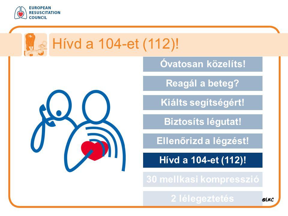 Approach safely Óvatosan közelíts! Reagál a beteg? Kiálts segítségért! Biztosíts légutat! Ellenőrizd a légzést! Hívd a 104-et (112)! 30 mellkasi kompr
