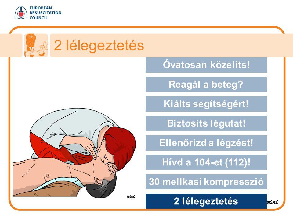 2 lélegeztetés Approach safely Óvatosan közelíts! Reagál a beteg? Kiálts segítségért! Biztosíts légutat! Ellenőrizd a légzést! Hívd a 104-et (112)! 30