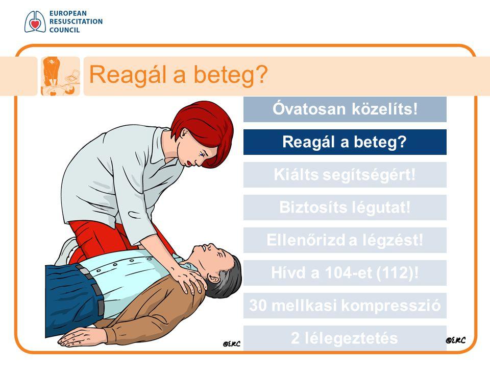 Approach safely Reagál a beteg? Óvatosan közelíts! Reagál a beteg? Kiálts segítségért! Biztosíts légutat! Ellenőrizd a légzést! Hívd a 104-et (112)! 3