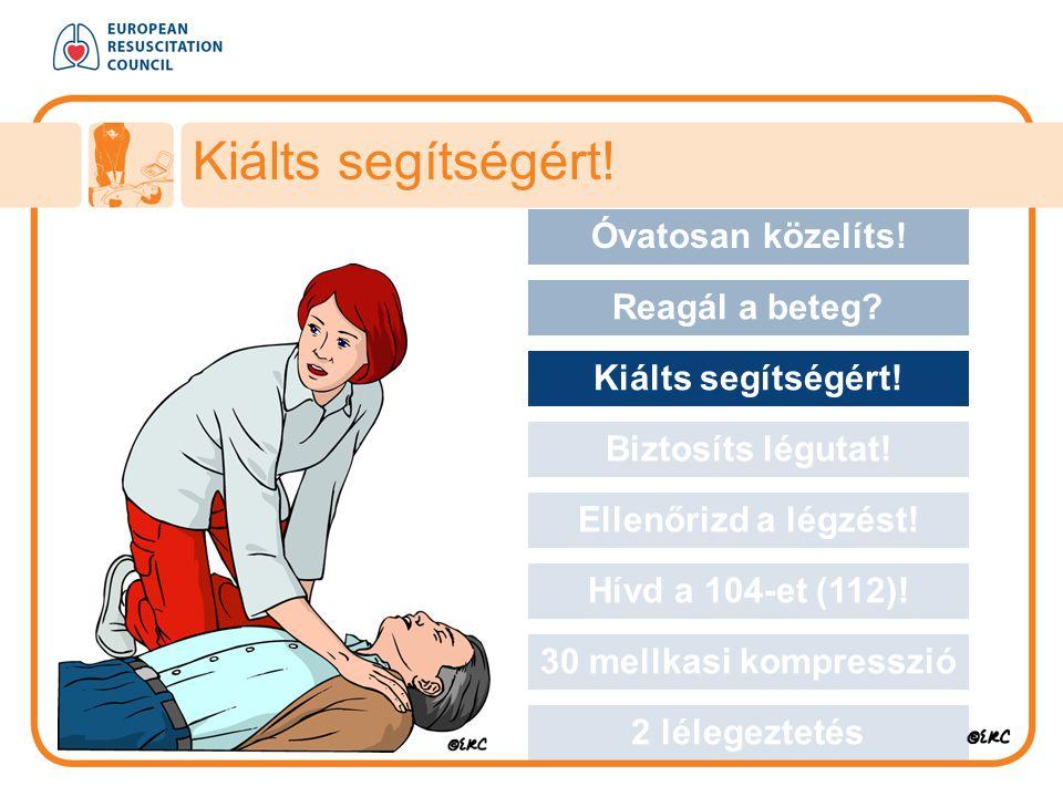 Kiálts segítségért! Approach safely Óvatosan közelíts! Reagál a beteg? Kiálts segítségért! Biztosíts légutat! Ellenőrizd a légzést! Hívd a 104-et (112