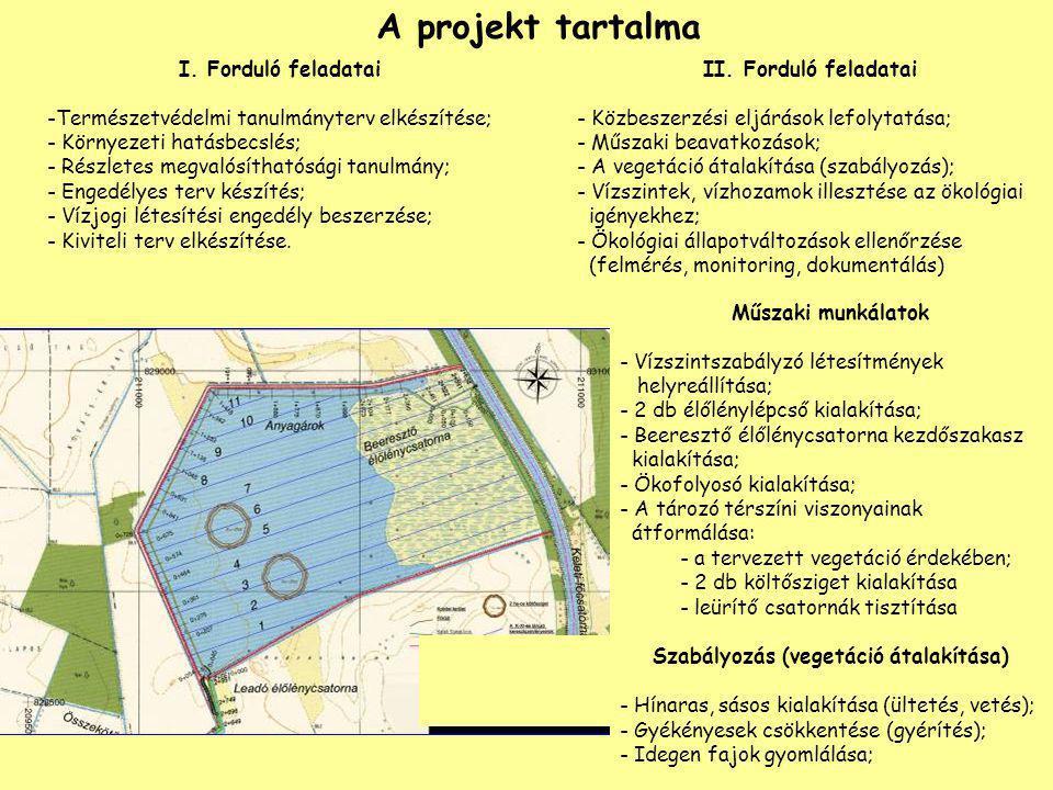 A projekt tartalma II. Forduló feladatai - Közbeszerzési eljárások lefolytatása; - Műszaki beavatkozások; - A vegetáció átalakítása (szabályozás); - V