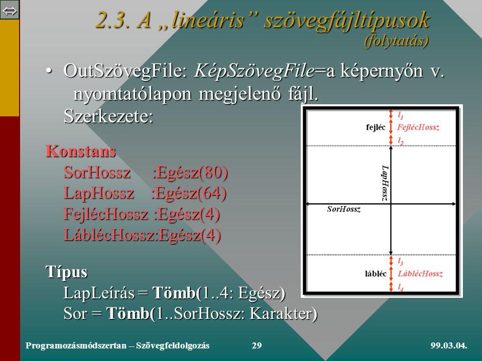  99.03.04.Programozásmódszertan -- Szövegfeldolgozás28 Eljárás SorOlvasás(Változó f: InpSzövegFile, sor: Sor): [SorVégjelig olvassa a sor karaktereit; Ef: nem Vége (f)] sor:= Ciklus amíg [SorVégjel garantáltan van!] c  SorVégjel sor:+c; Olvas(f,c) Ciklus vége sor:+c [Ha nem Vége (f) akkor] Olvas(f,c) [előreolvasás] Eljárás vége.