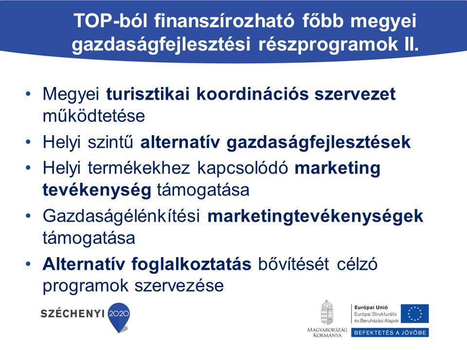 TOP-ból finanszírozható főbb megyei gazdaságfejlesztési részprogramok II. Megyei turisztikai koordinációs szervezet működtetése Helyi szintű alternatí