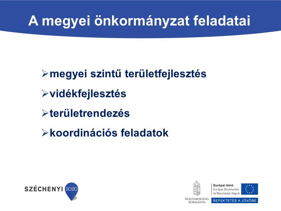 A megyei önkormányzat feladatai  megyei szintű területfejlesztés  vidékfejlesztés  területrendezés  koordinációs feladatok