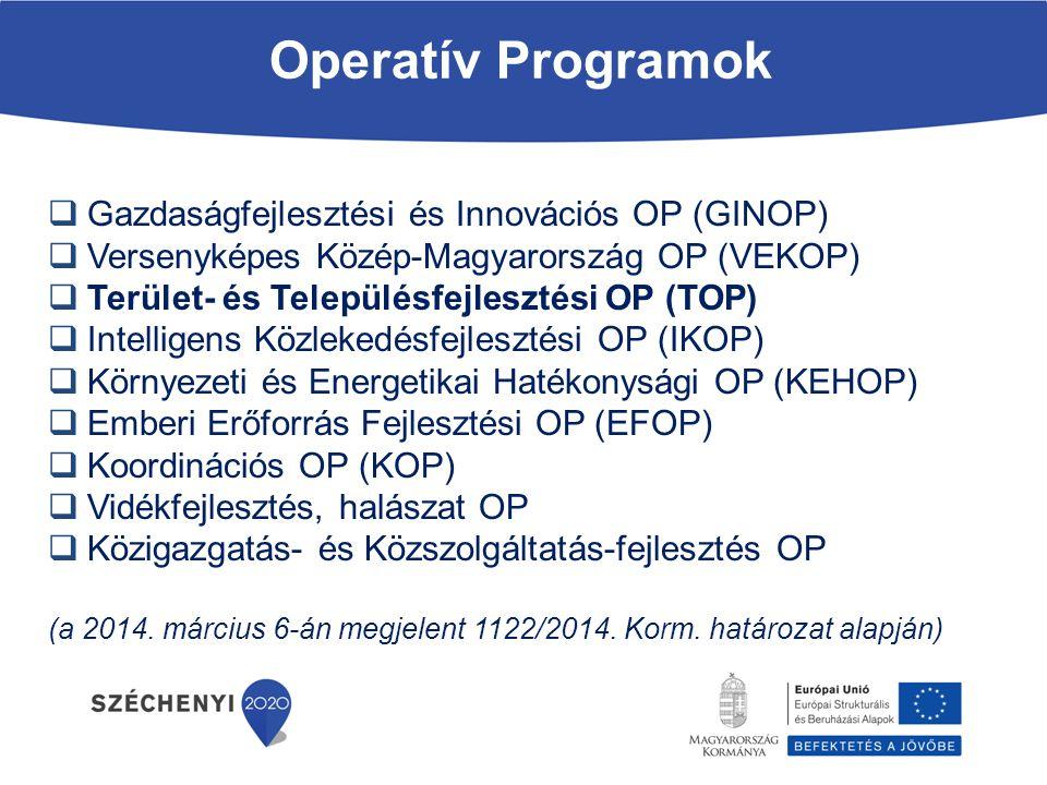 Operatív Programok  Gazdaságfejlesztési és Innovációs OP (GINOP)  Versenyképes Közép-Magyarország OP (VEKOP)  Terület- és Településfejlesztési OP (