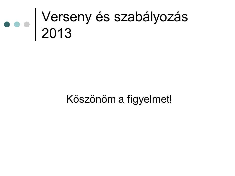 Verseny és szabályozás 2013 Köszönöm a figyelmet!