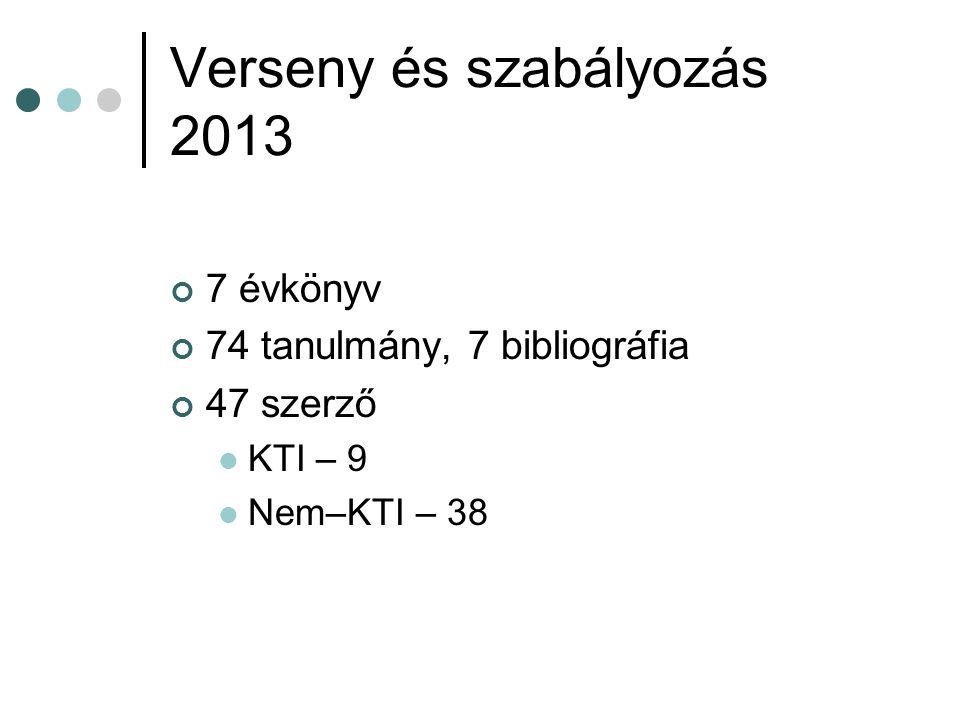 Verseny és szabályozás 2013 7 évkönyv 74 tanulmány, 7 bibliográfia 47 szerző KTI – 9 Nem–KTI – 38