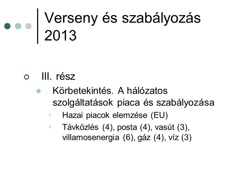 Verseny és szabályozás 2013 III. rész Körbetekintés.