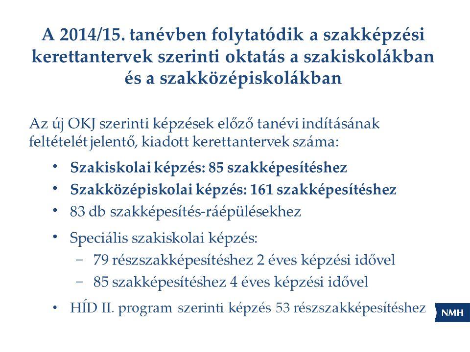 A 2014/15. tanévben folytatódik a szakképzési kerettantervek szerinti oktatás a szakiskolákban és a szakközépiskolákban Az új OKJ szerinti képzések el