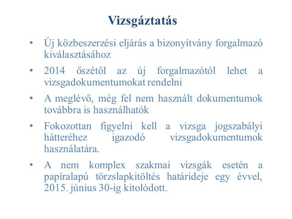 Vizsgáztatás Új közbeszerzési eljárás a bizonyítvány forgalmazó kiválasztásához 2014 őszétől az új forgalmazótól lehet a vizsgadokumentumokat rendelni