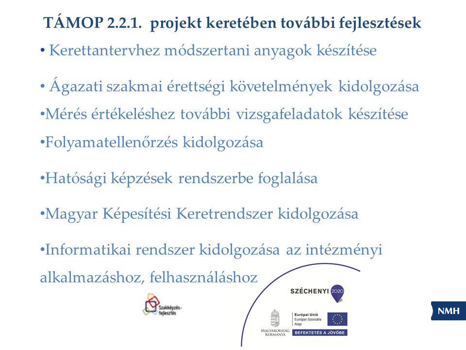 TÁMOP 2.2.1. projekt keretében további fejlesztések Kerettantervhez módszertani anyagok készítése Ágazati szakmai érettségi követelmények kidolgozása