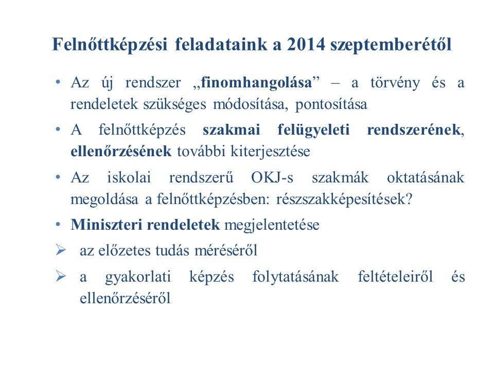 """Felnőttképzési feladataink a 2014 szeptemberétől Az új rendszer """"finomhangolása"""" – a törvény és a rendeletek szükséges módosítása, pontosítása A felnő"""