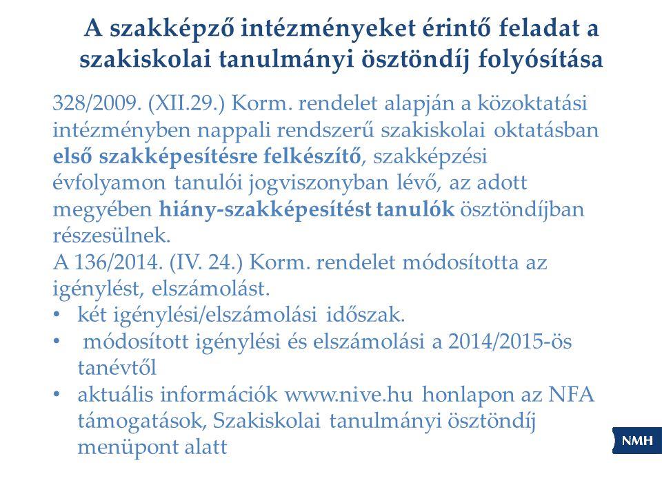 328/2009. (XII.29.) Korm. rendelet alapján a közoktatási intézményben nappali rendszerű szakiskolai oktatásban első szakképesítésre felkészítő, szakké