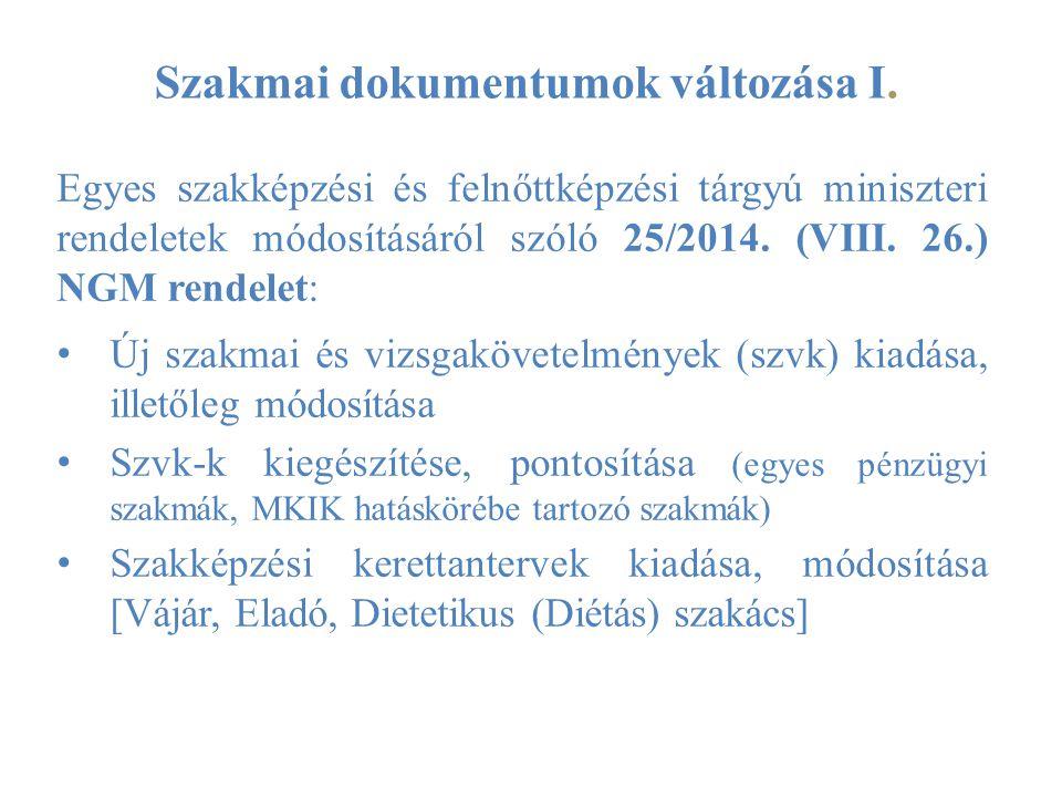 Szakmai dokumentumok változása I. Egyes szakképzési és felnőttképzési tárgyú miniszteri rendeletek módosításáról szóló 25/2014. (VIII. 26.) NGM rendel