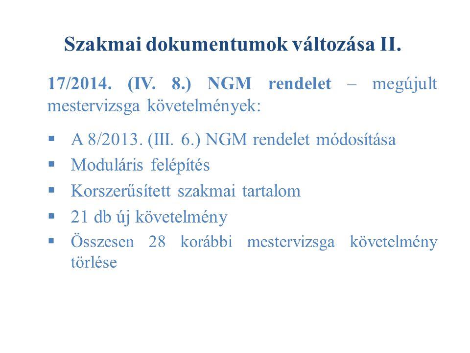 Szakmai dokumentumok változása II. 17/2014. (IV. 8.) NGM rendelet – megújult mestervizsga követelmények:  A 8/2013. (III. 6.) NGM rendelet módosítása