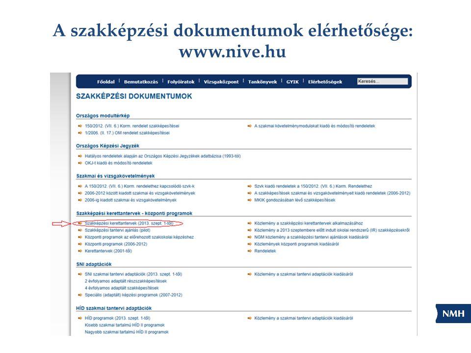 A szakképzési dokumentumok elérhetősége: www.nive.hu