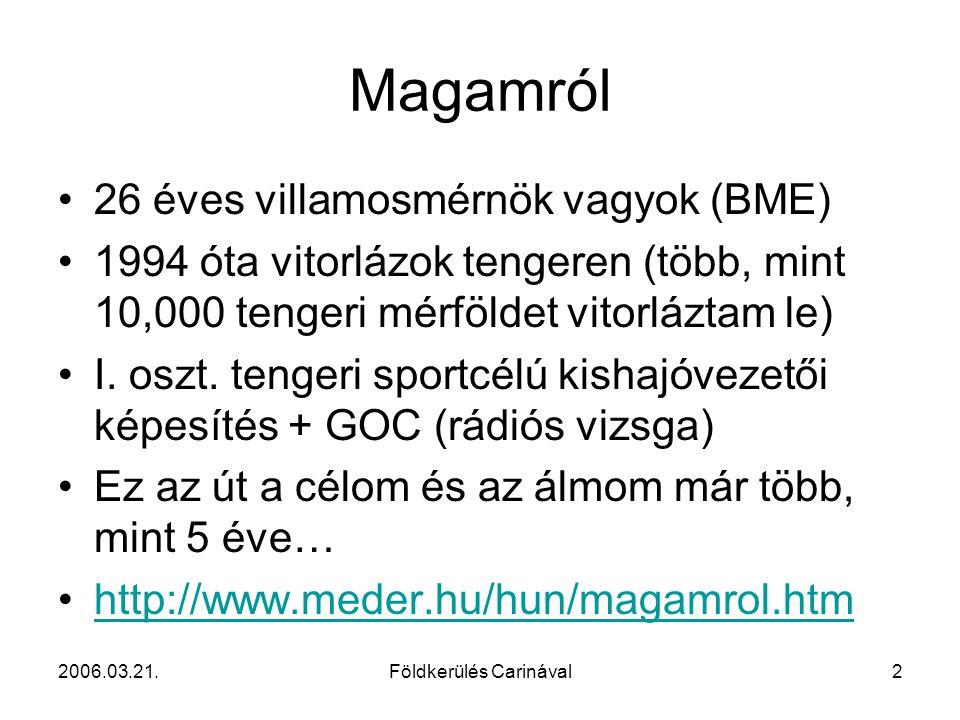 2006.03.21.Földkerülés Carinával2 Magamról 26 éves villamosmérnök vagyok (BME) 1994 óta vitorlázok tengeren (több, mint 10,000 tengeri mérföldet vitor