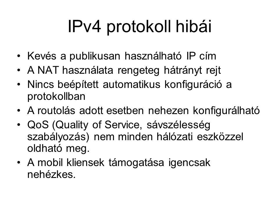 IPv6 legfontosabb jellemzői Nagyobb címtartomány, kisebb fejléc a csomagokban Közvetlen végponti címezhetőség Automatikus konfiguráció Hálózati mobilitás – egy csatolóhoz egy időben több címet rendelhetünk Titkosítás, azonosítás IPSec –el Többszörös címezhetőség, szabványos multicast A magasabb szintű protokollok többnyire nagyobb módosítás nélkül használhatóak.