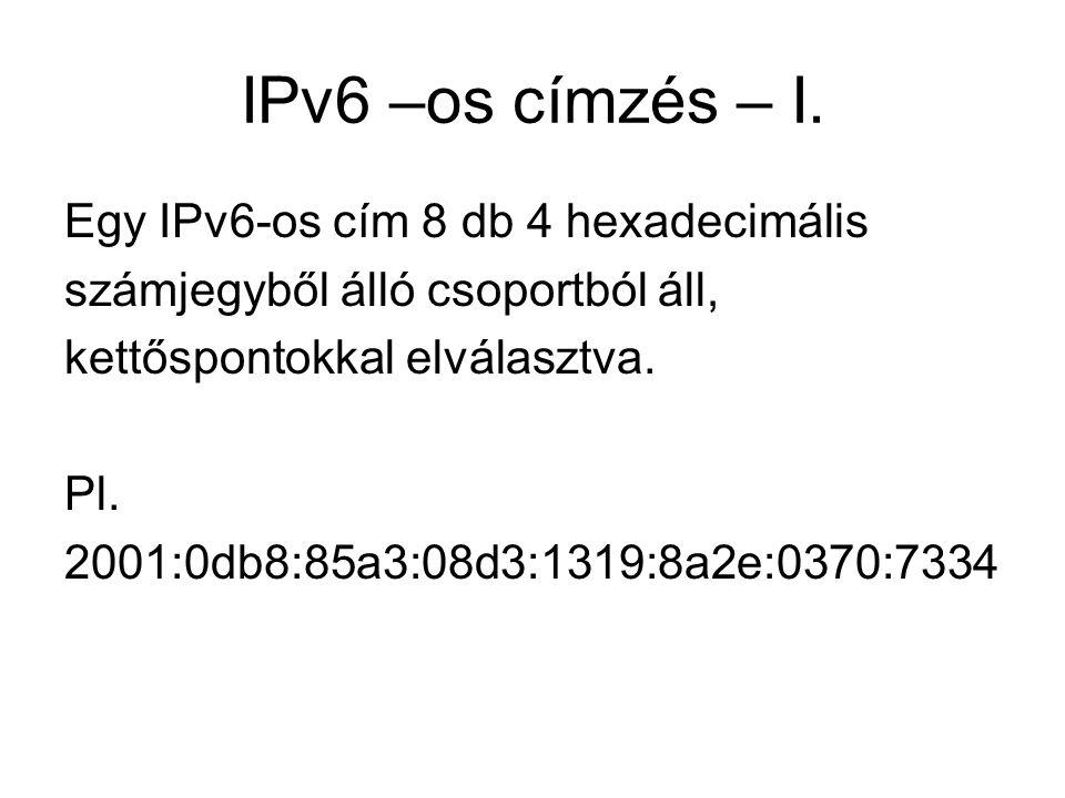 IPv6 –os címzés – II.Az IPv6 128 bites címet használ, míg az IPv4 32 bites címmel dolgozik.