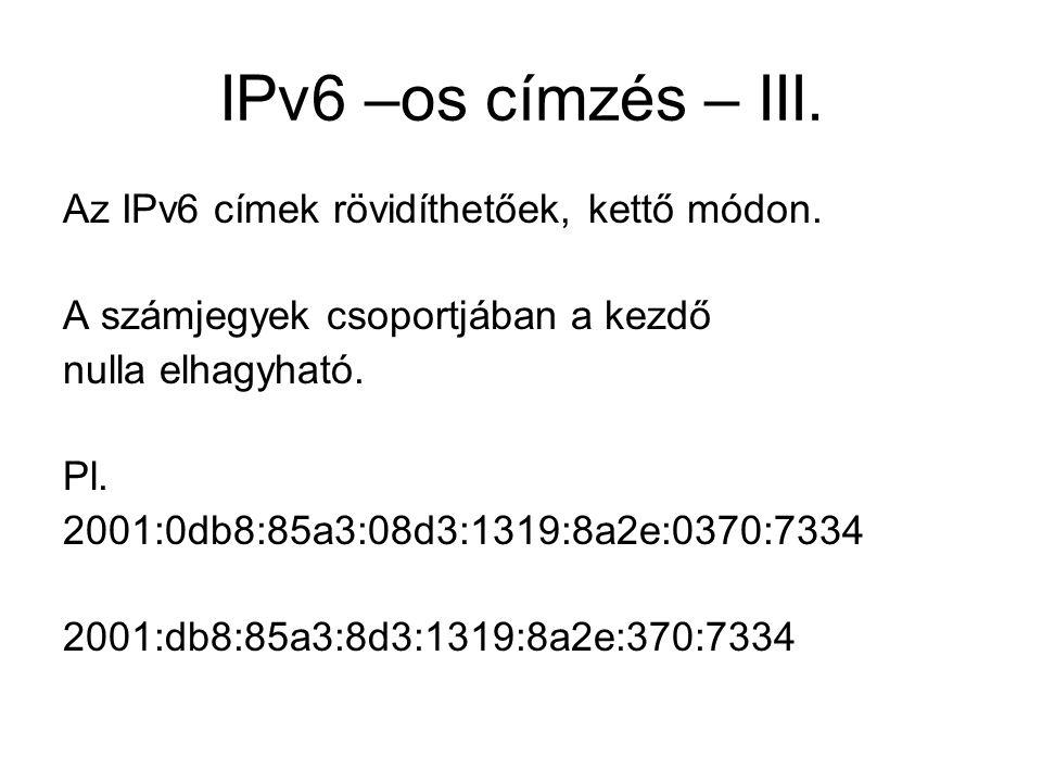 IPv6 –os címzési módok A már létező unicast, broadcast, multicast mellé megjelent az anycast címzési mód is.