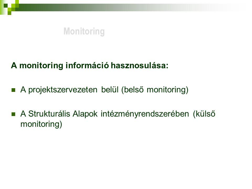 A monitoring információ hasznosulása: A projektszervezeten belül (belső monitoring) A Strukturális Alapok intézményrendszerében (külső monitoring) Monitoring