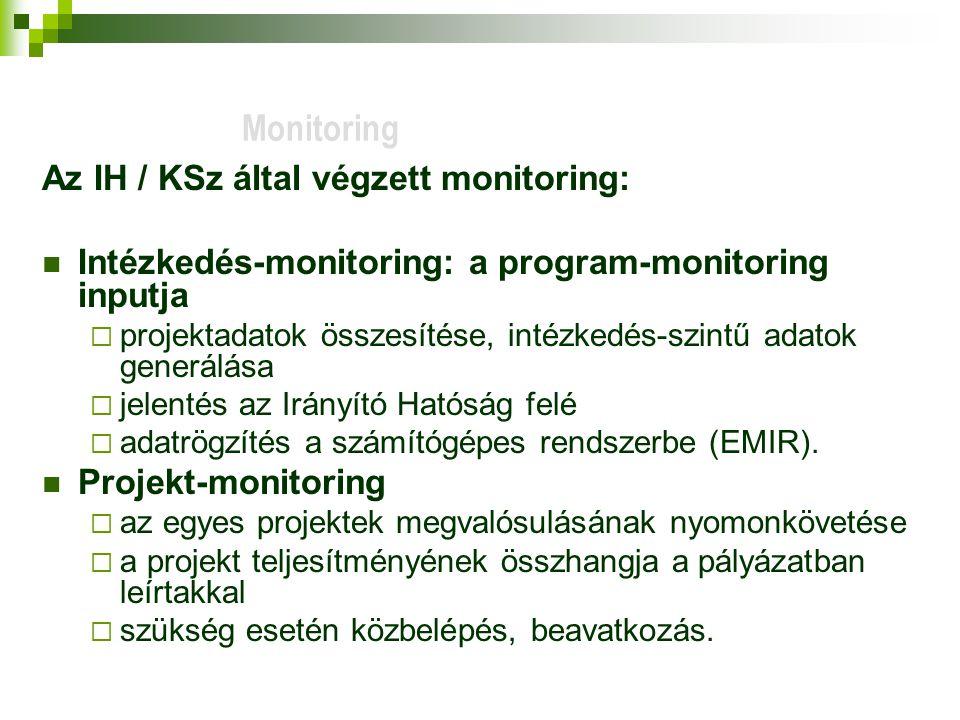 Az IH / KSz által végzett monitoring: Intézkedés-monitoring: a program-monitoring inputja  projektadatok összesítése, intézkedés-szintű adatok generálása  jelentés az Irányító Hatóság felé  adatrögzítés a számítógépes rendszerbe (EMIR).