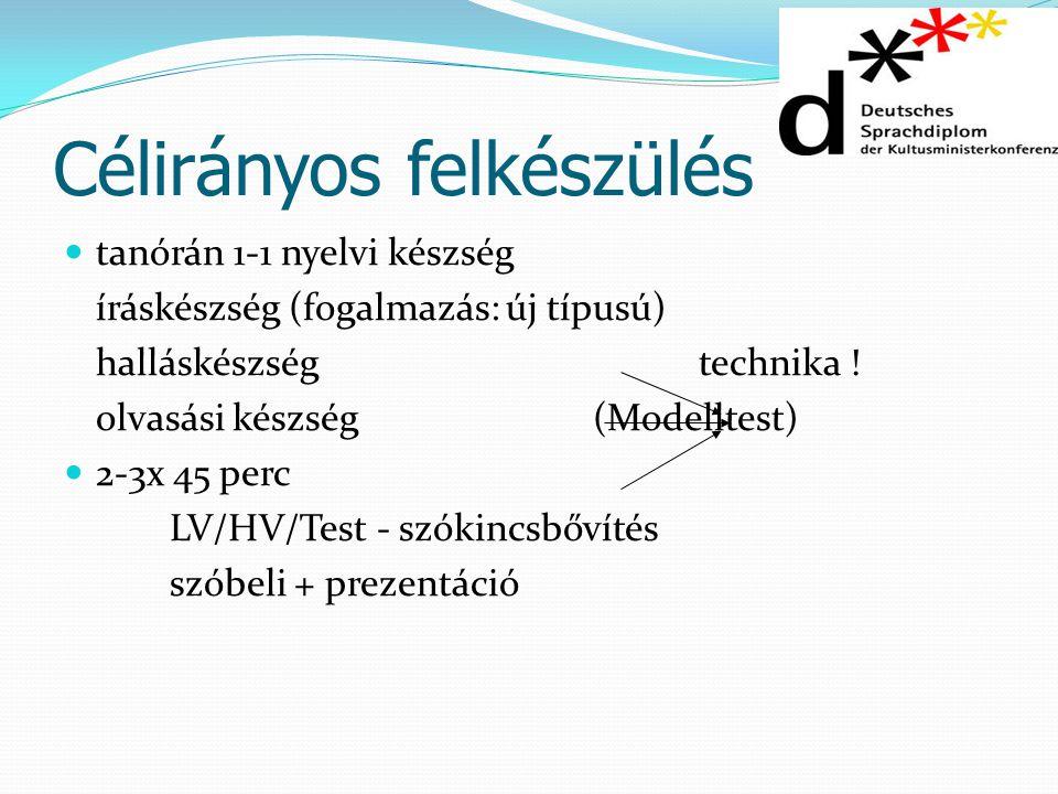 Célirányos felkészülés tanórán 1-1 nyelvi készség íráskészség (fogalmazás: új típusú) halláskészségtechnika ! olvasási készség(Modelltest) 2-3x 45 per