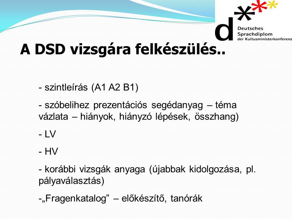 A DSD vizsgára felkészülés.. - szintleírás (A1 A2 B1) - szóbelihez prezentációs segédanyag – téma vázlata – hiányok, hiányzó lépések, összhang) - LV -