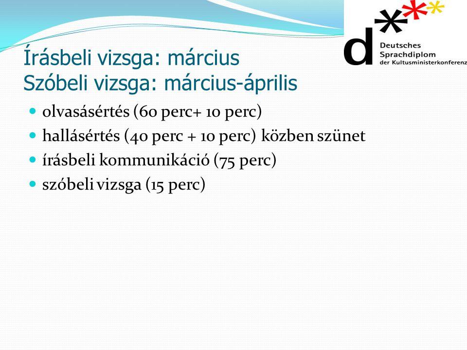 Írásbeli vizsga: március Szóbeli vizsga: március-április olvasásértés (60 perc+ 10 perc) hallásértés (40 perc + 10 perc) közben szünet írásbeli kommun