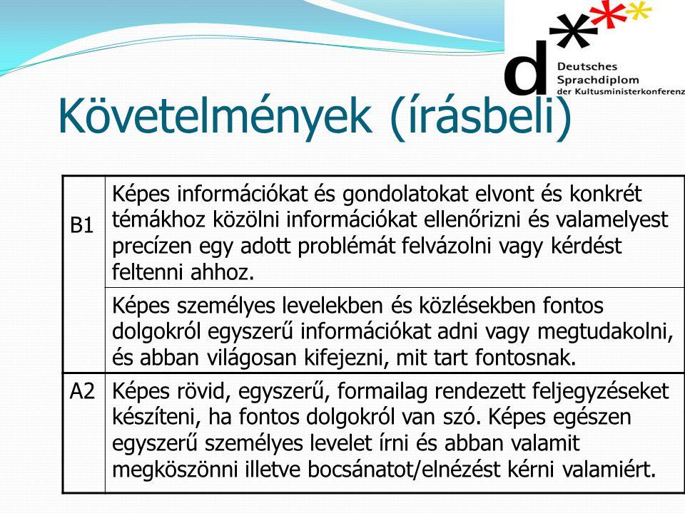 Követelmények (írásbeli) B1 Képes információkat és gondolatokat elvont és konkrét témákhoz közölni információkat ellenőrizni és valamelyest precízen e