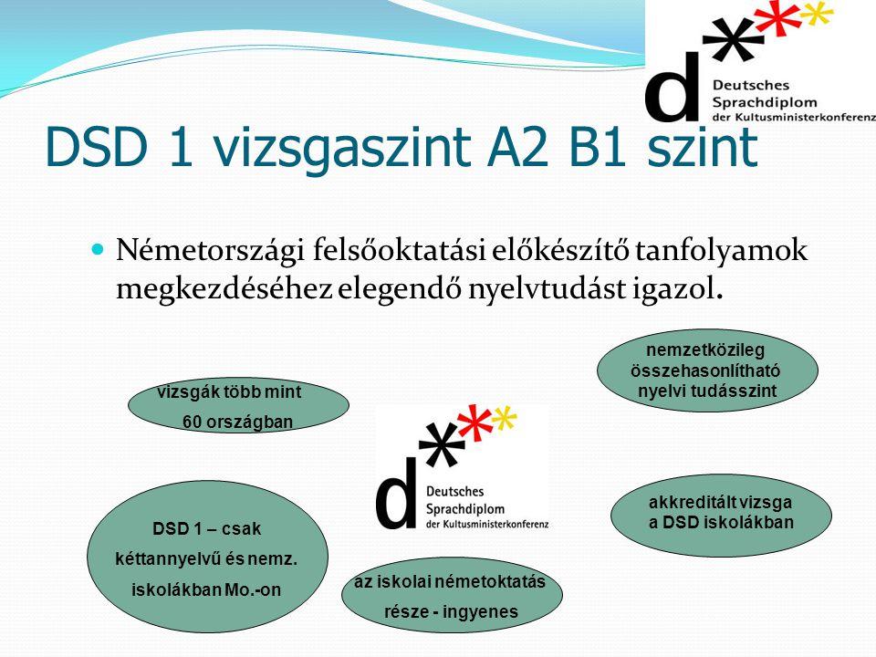 DSD 1 vizsgaszint A2 B1 szint Németországi felsőoktatási előkészítő tanfolyamok megkezdéséhez elegendő nyelvtudást igazol. vizsgák több mint 60 ország