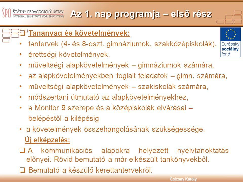 Csicsay Károly  Tananyag és követelmények: tantervek (4- és 8-oszt. gimnáziumok, szakközépiskolák), érettségi követelmények, műveltségi alapkövetelmé