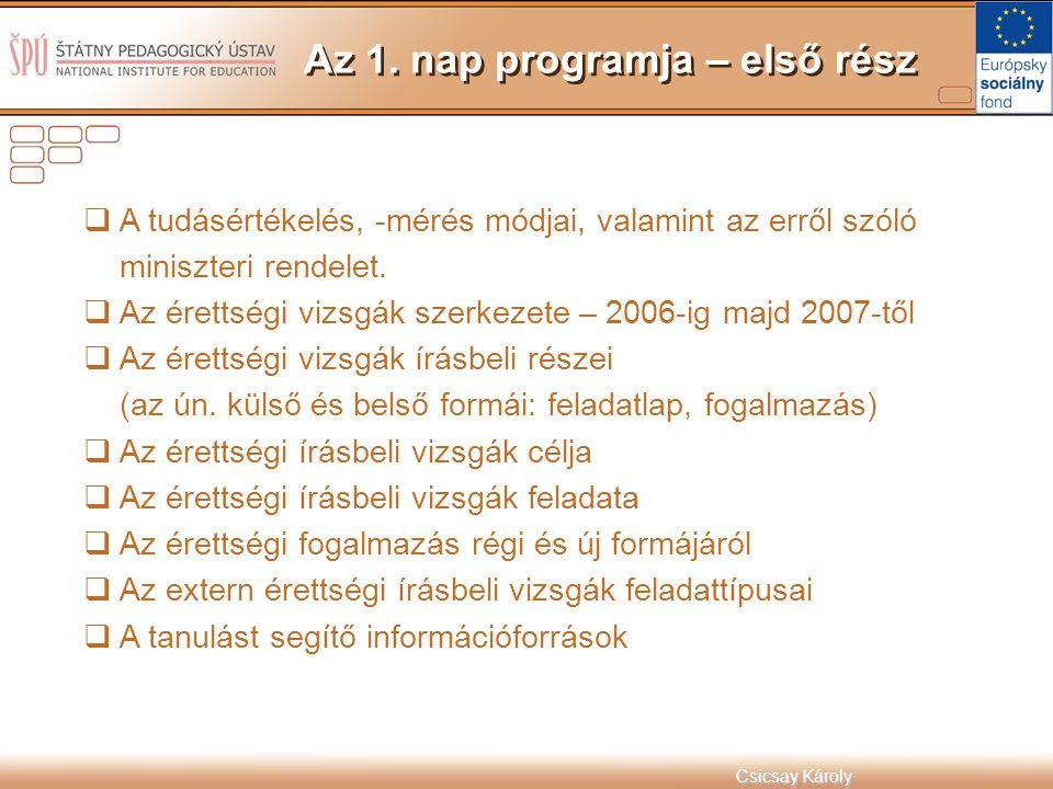 Csicsay Károly  A tudásértékelés, -mérés módjai, valamint az erről szóló miniszteri rendelet.  Az érettségi vizsgák szerkezete – 2006-ig majd 2007-t